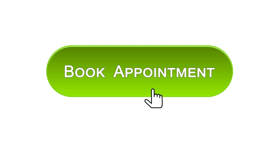 Book appointment web interface button clicked with mouse, green color, calendar